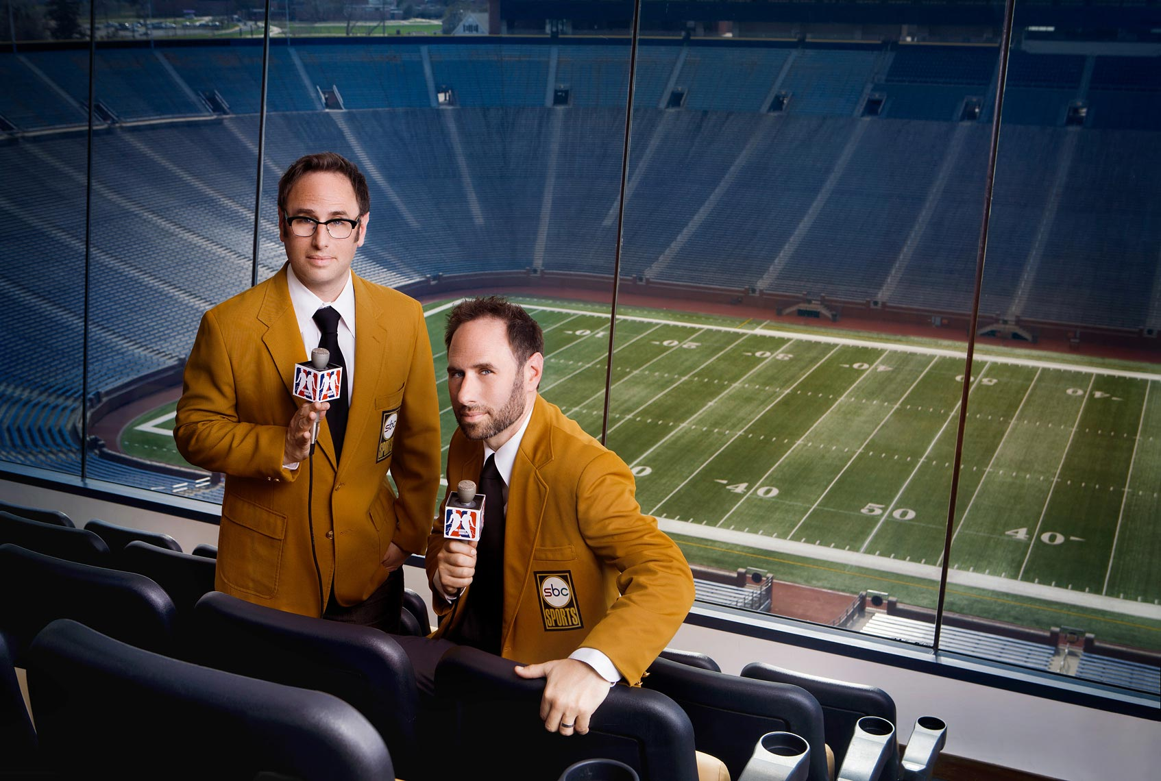 advertising-portrait-of-comedians-the-sklar-brothers-at-michigan-stadium-ann-arbor-commercial-photographer-scott-stewart